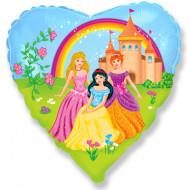 Воздушный шар (18''/46 см) Сердце, Замок принцессы, 1 шт.